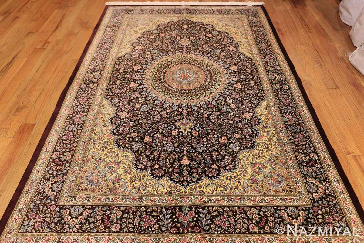 small brown silk modern persian qum rug 49416 whole Nazmiyal