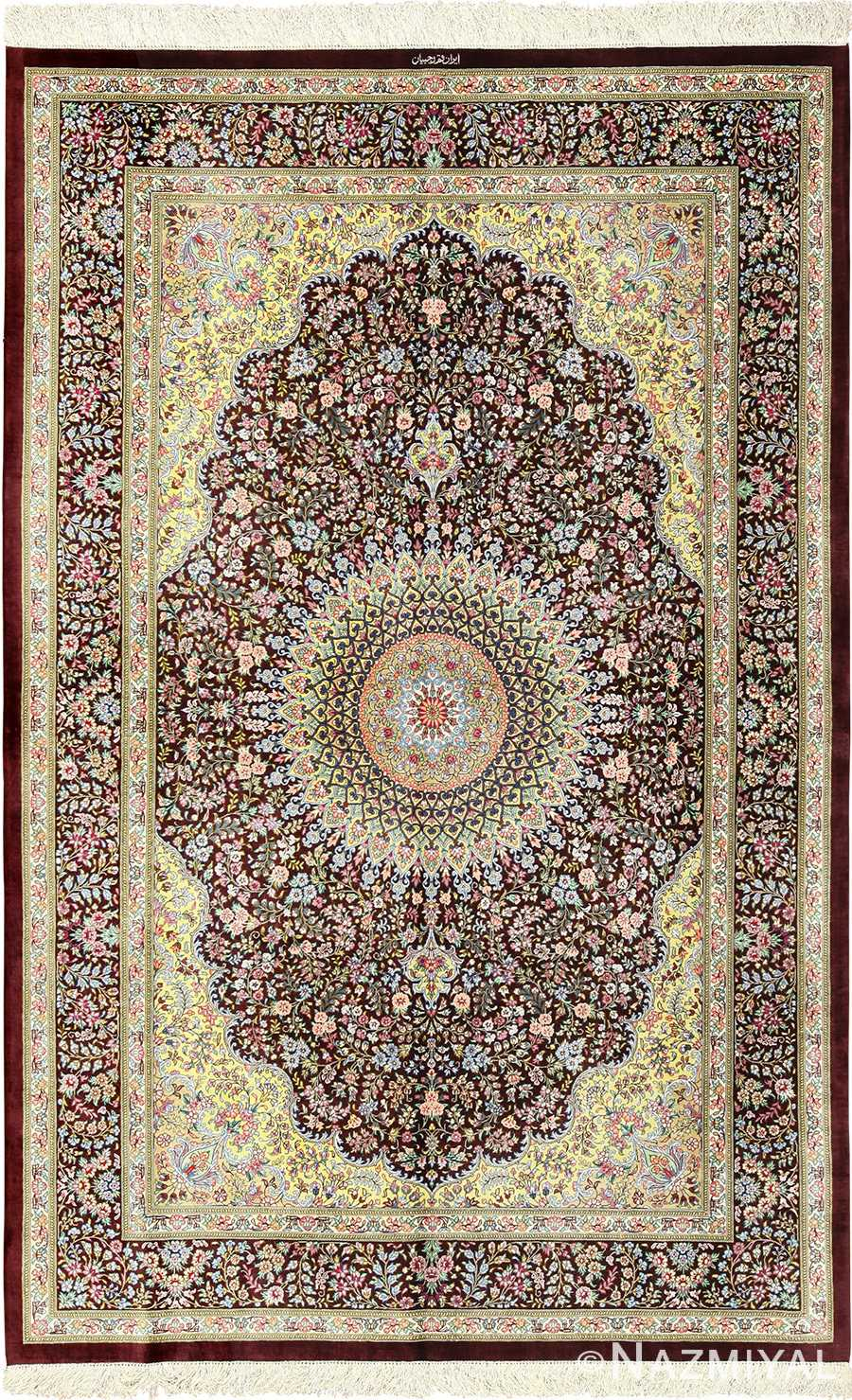 small brown silk modern qum persian rug 49416 Nazmiyal