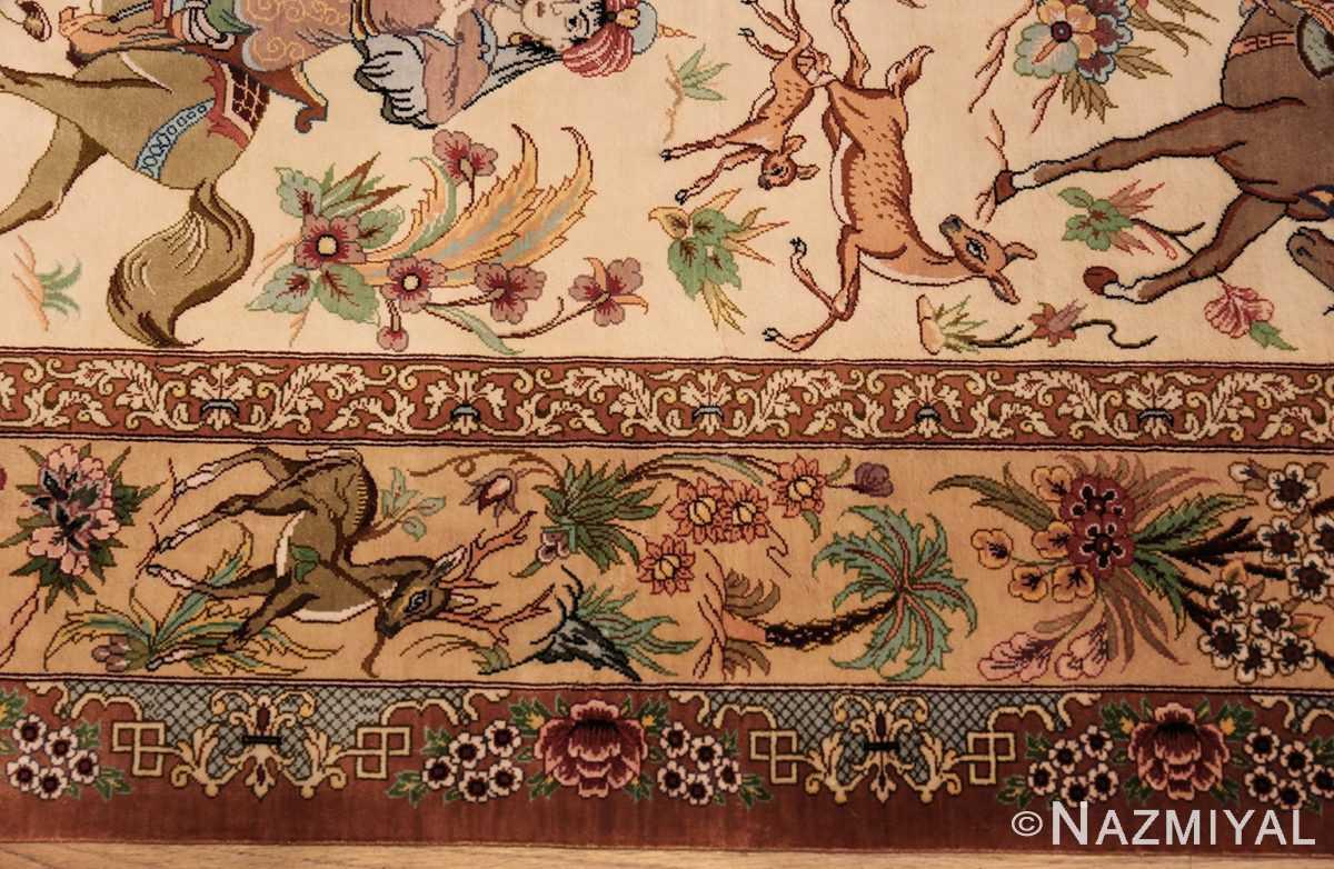 small modern silk persian hunting scene qum rug 49412 border Nazmiyal