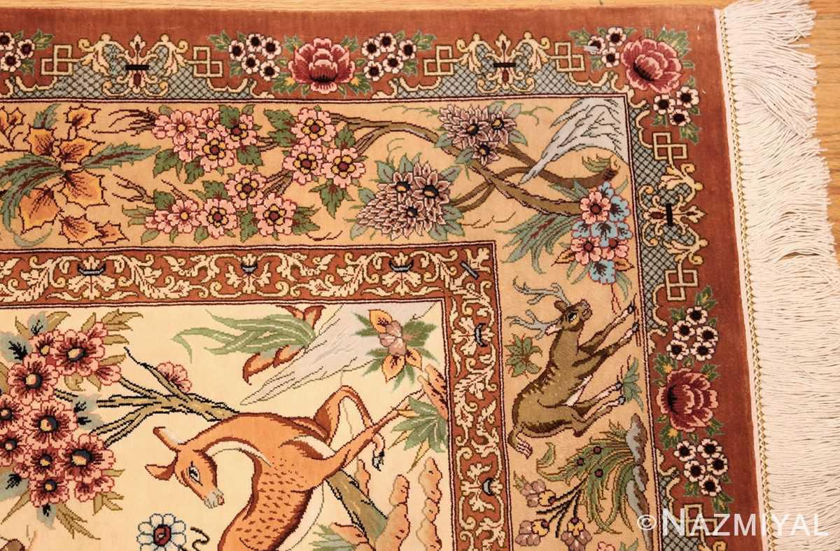 small modern silk persian hunting scene qum rug 49412 corner Nazmiyal