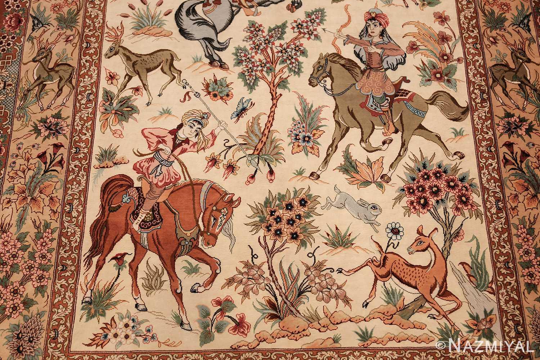 small modern silk persian hunting scene qum rug 49412 hunters Nazmiyal