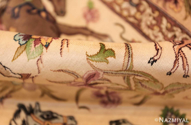 small modern silk persian hunting scene qum rug 49412 pile Nazmiyal