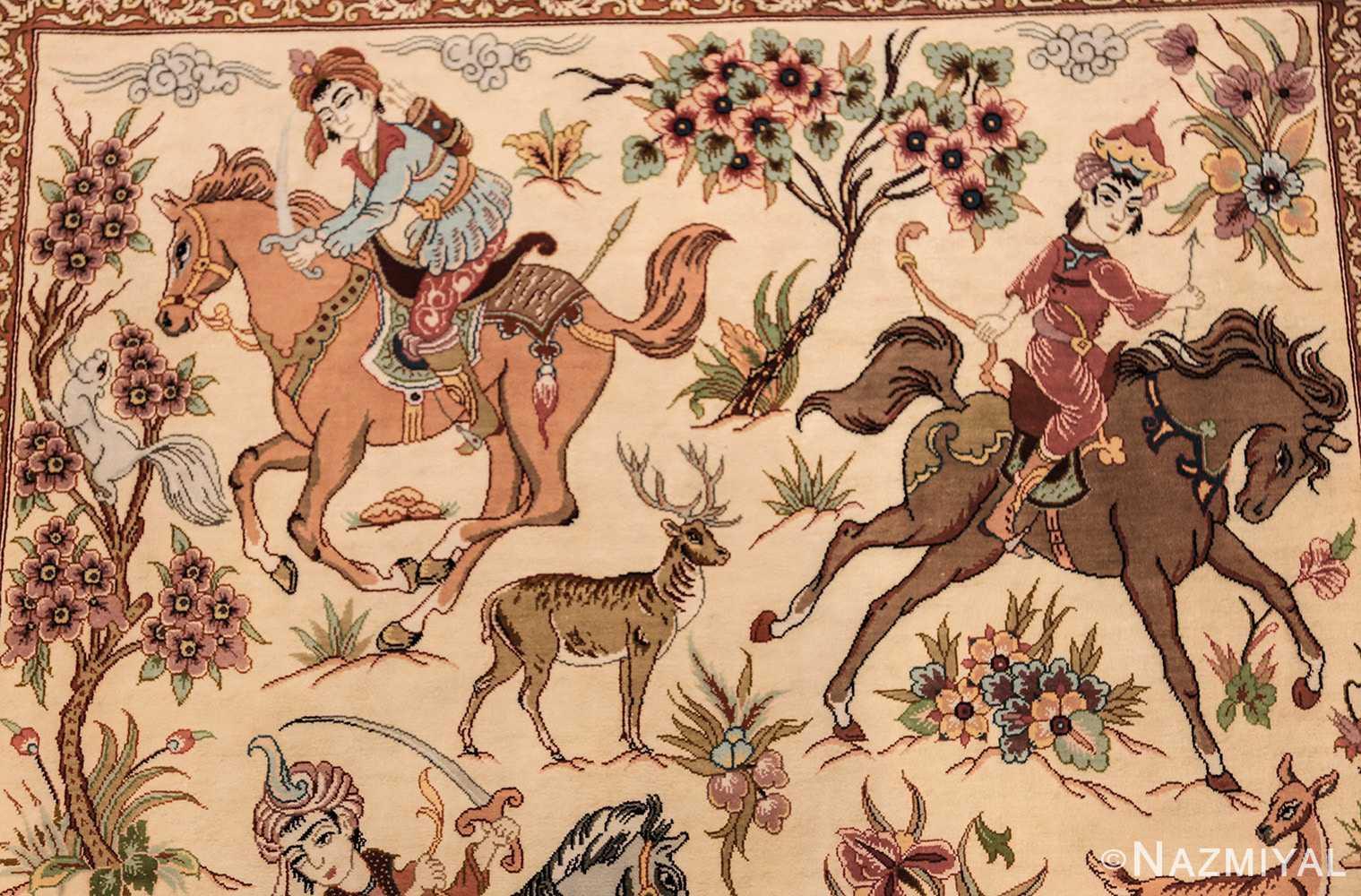 small modern silk persian hunting scene qum rug 49412 princes Nazmiyal