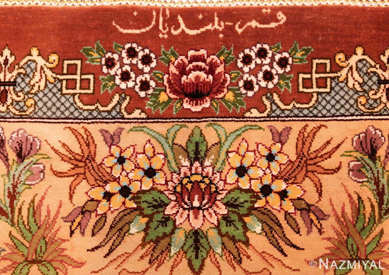 small modern silk persian hunting scene qum rug 49412 signature Nazmiyal