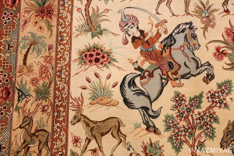 small modern silk persian hunting scene qum rug 49412 sword Nazmiyal