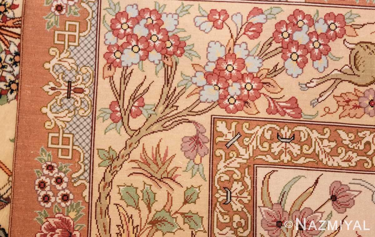 small modern silk persian hunting scene qum rug 49412 weave Nazmiyal