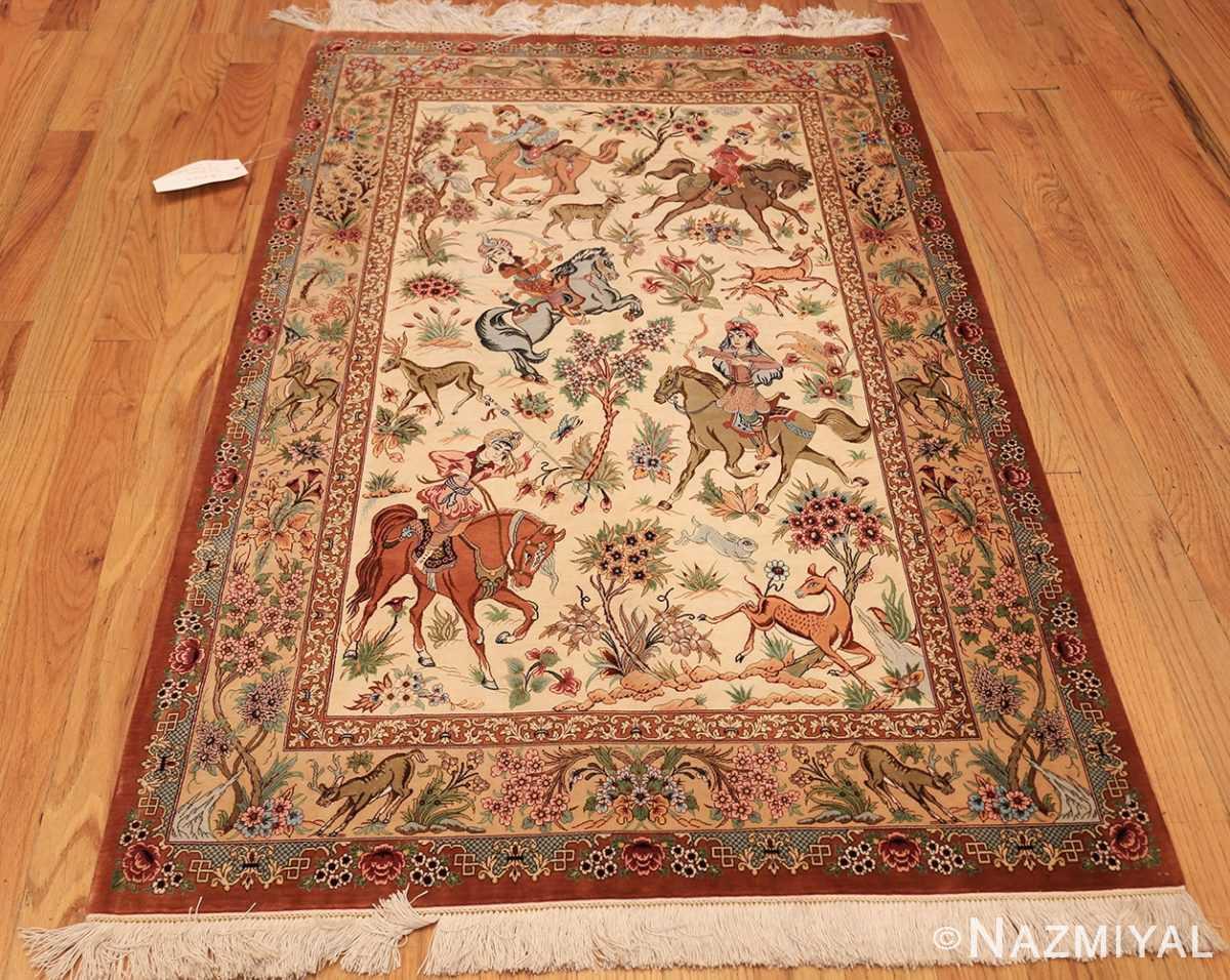 small modern silk persian hunting scene qum rug 49412 whole Nazmiyal