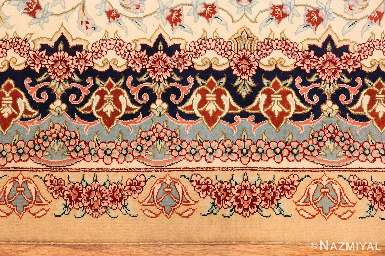 small scatter size modern ivory persian silk qum rug 49406 border Nazmiyal