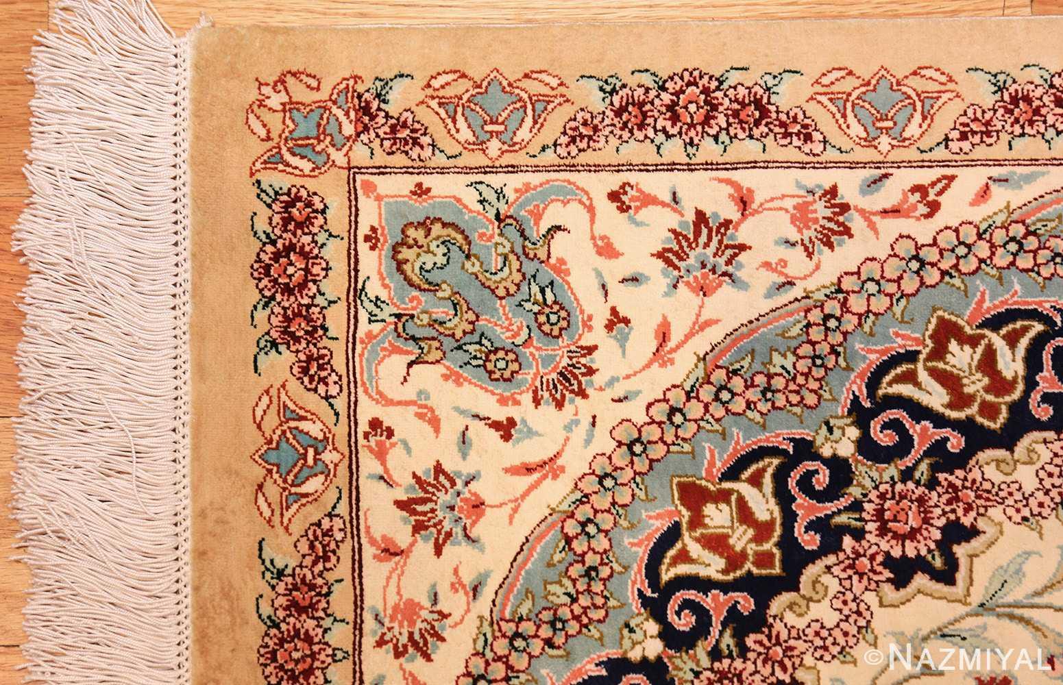 small scatter size modern ivory persian silk qum rug 49406 corner Nazmiyal