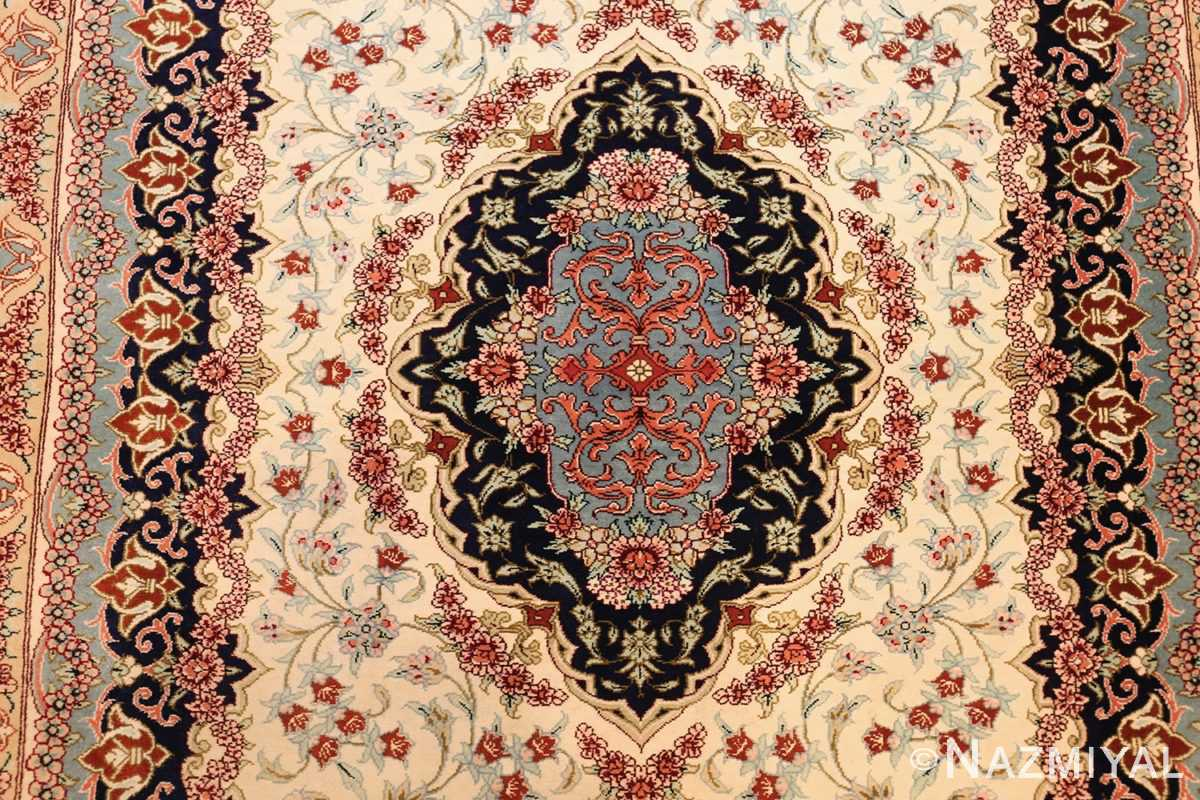 small scatter size modern ivory persian silk qum rug 49406 medallion Nazmiyal