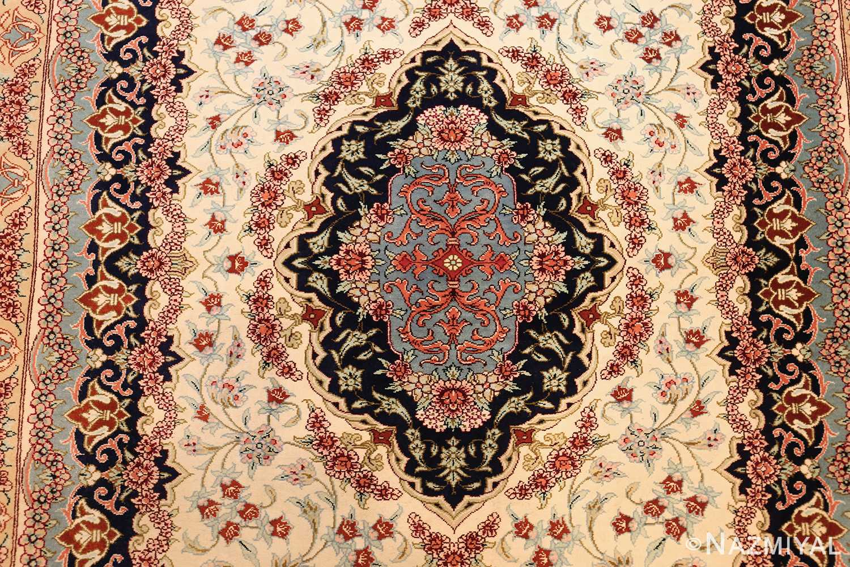 small scatter size modern ivory persian silk qum rug 49406 medallion Nazmiyal