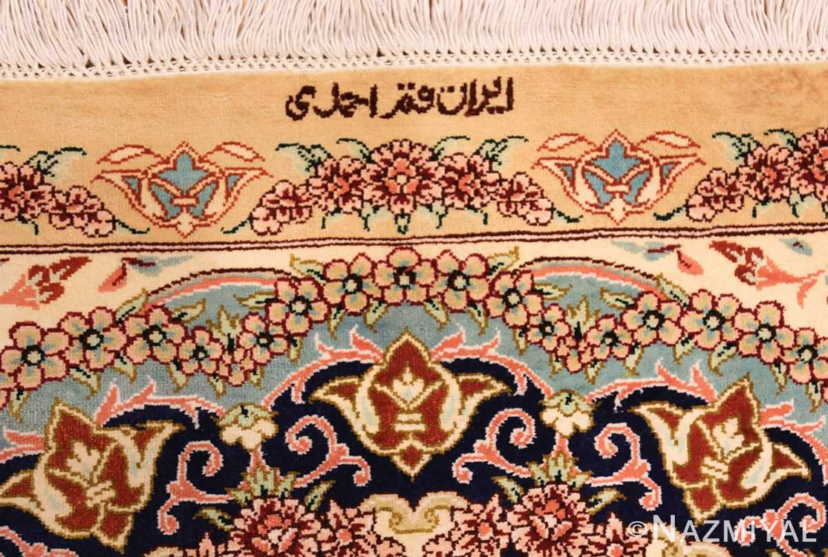 small scatter size modern ivory persian silk qum rug 49406 signature Nazmiyal