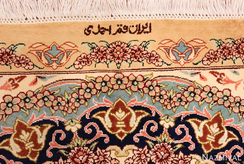 small scatter size modern ivory persian silk qum rug 49406 signature Nazmiyal