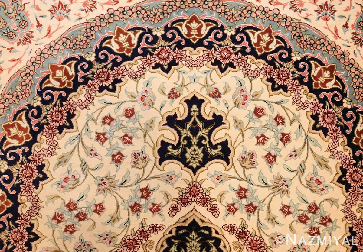 small scatter size modern ivory persian silk qum rug 49406 top Nazmiyal