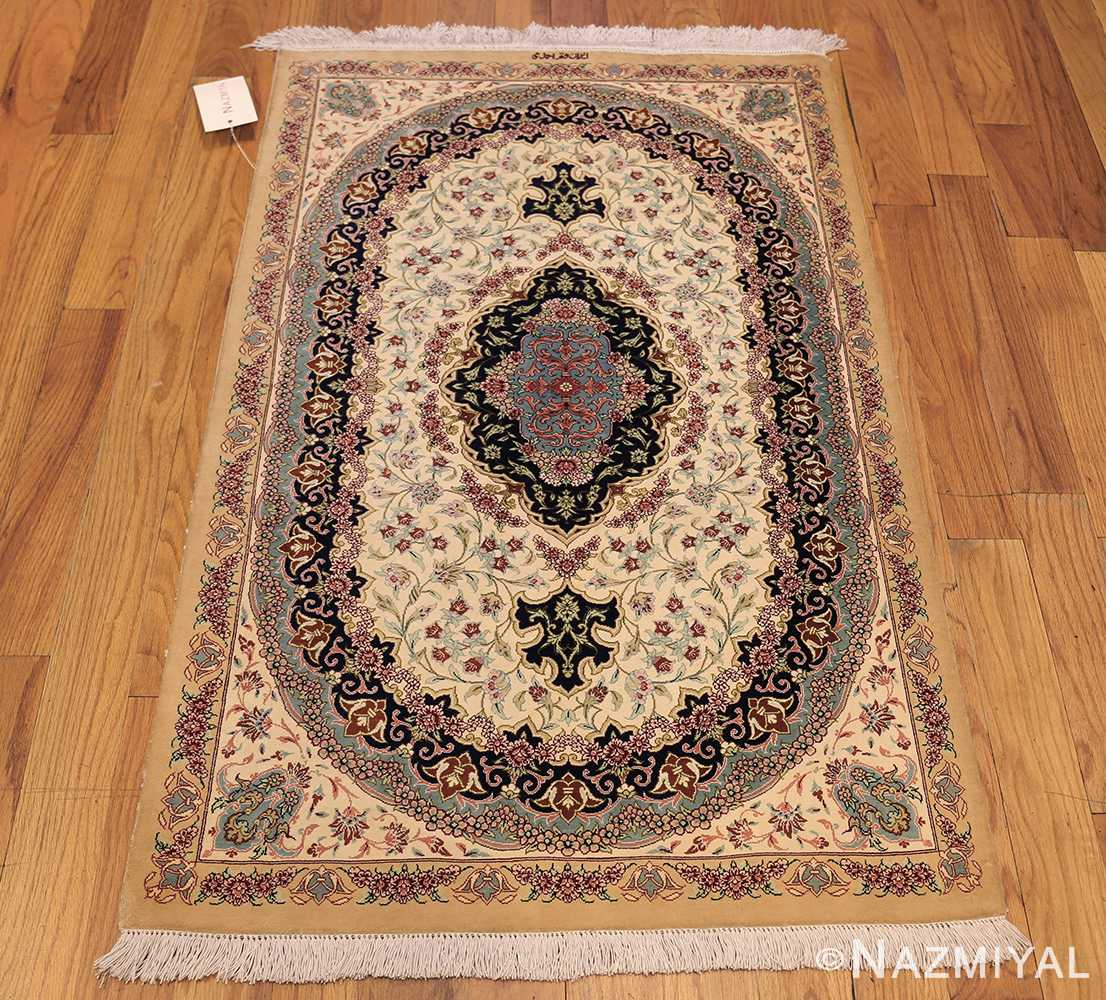 small scatter size modern ivory persian silk qum rug 49406 whole Nazmiyal