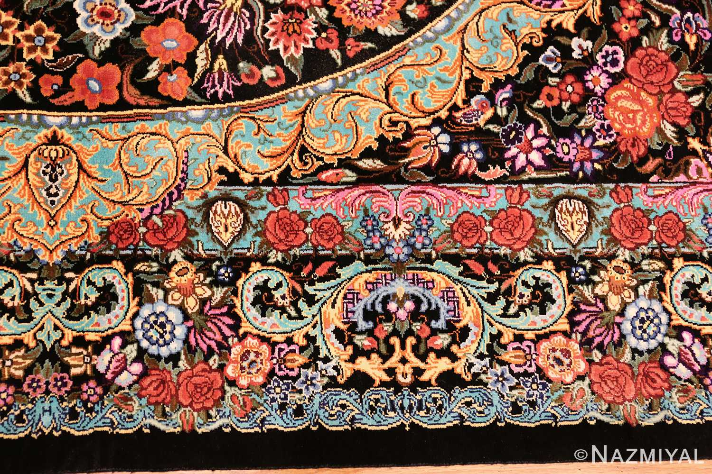 small scatter size modern persian qum silk rug 49410 border Nazmiyal