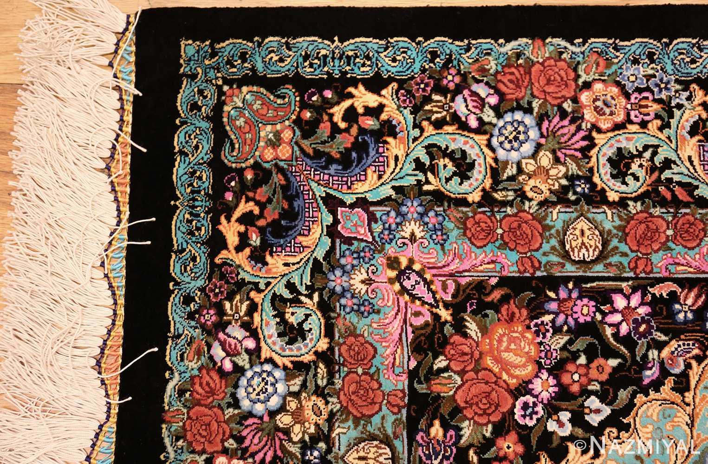 small scatter size modern persian qum silk rug 49410 corner Nazmiyal