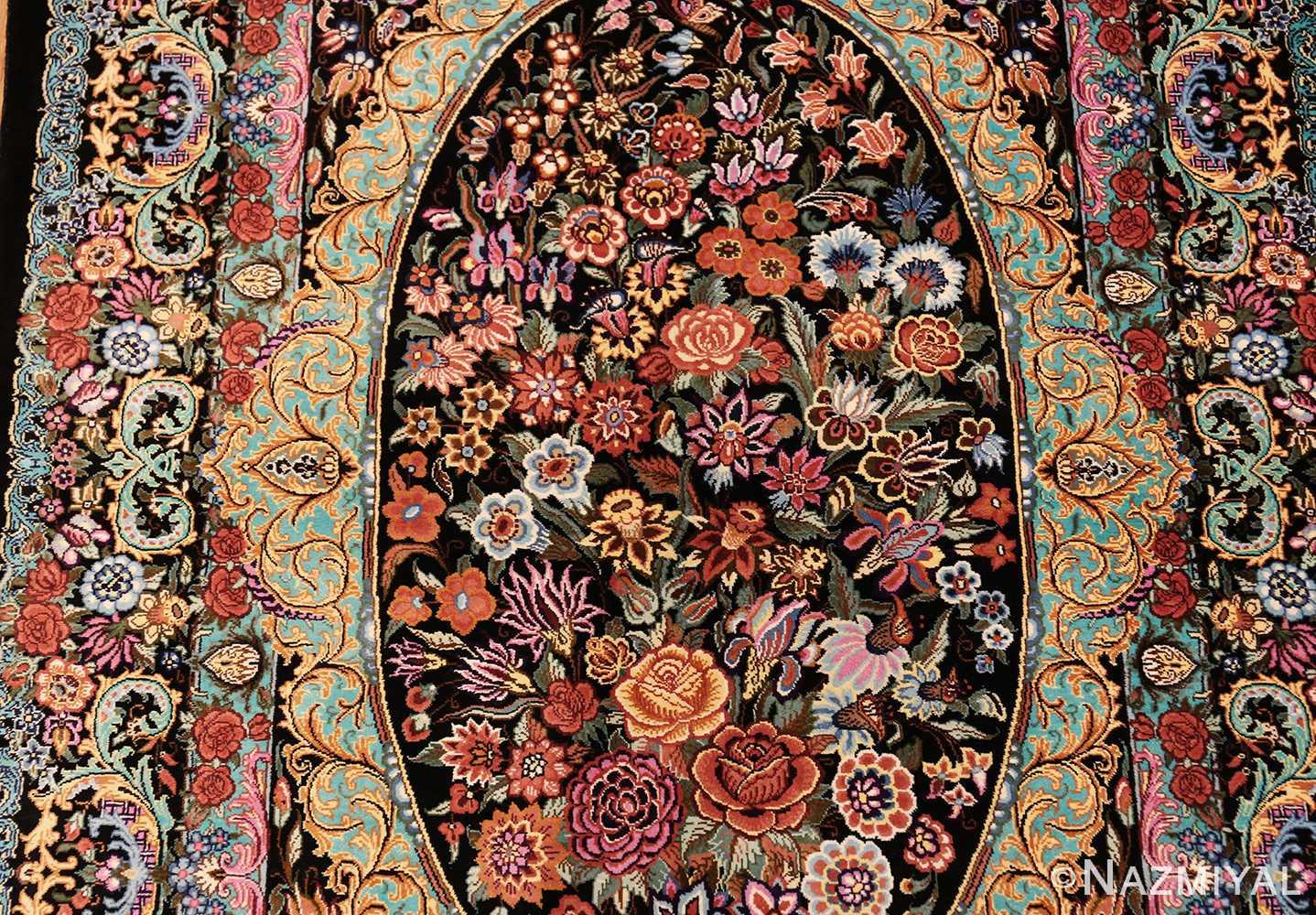 small scatter size modern persian qum silk rug 49410 medallion Nazmiyal
