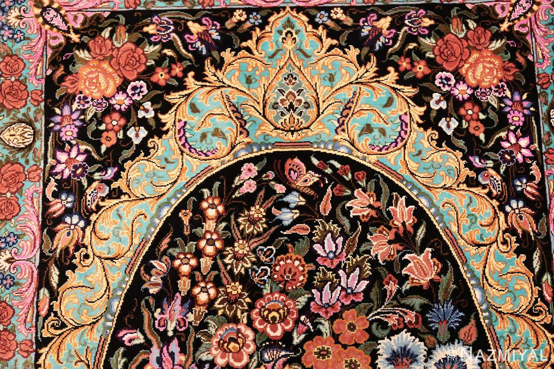 small scatter size modern persian qum silk rug 49410 top Nazmiyal