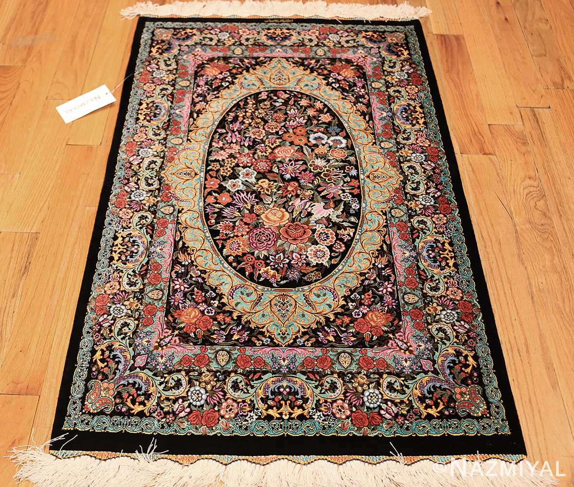 small scatter size modern persian qum silk rug 49410 whole Nazmiyal