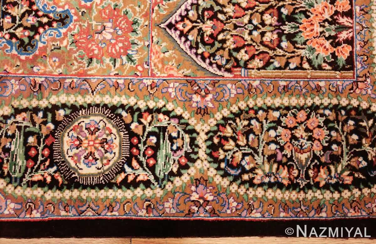 small scatter size modern silk persian qum rug 49409 border Nazmiyal