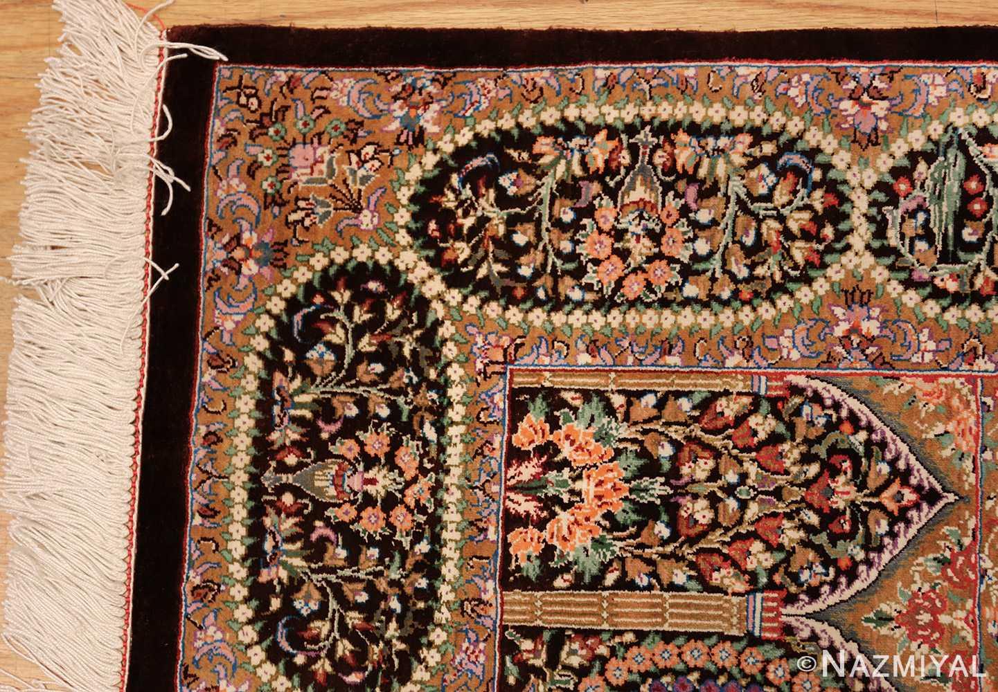 small scatter size modern silk persian qum rug 49409 corner Nazmiyal