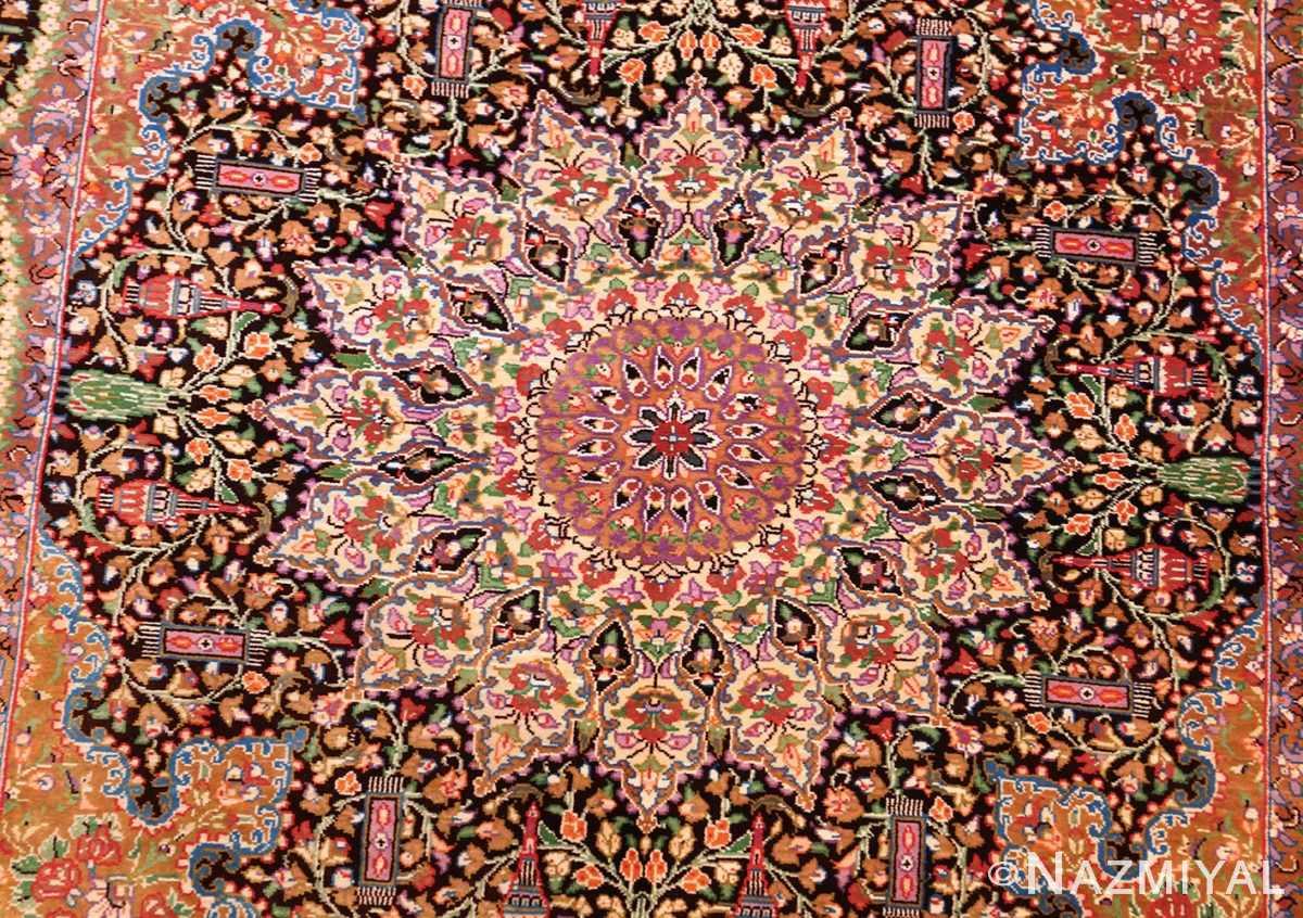 small scatter size modern silk persian qum rug 49409 medallion Nazmiyal