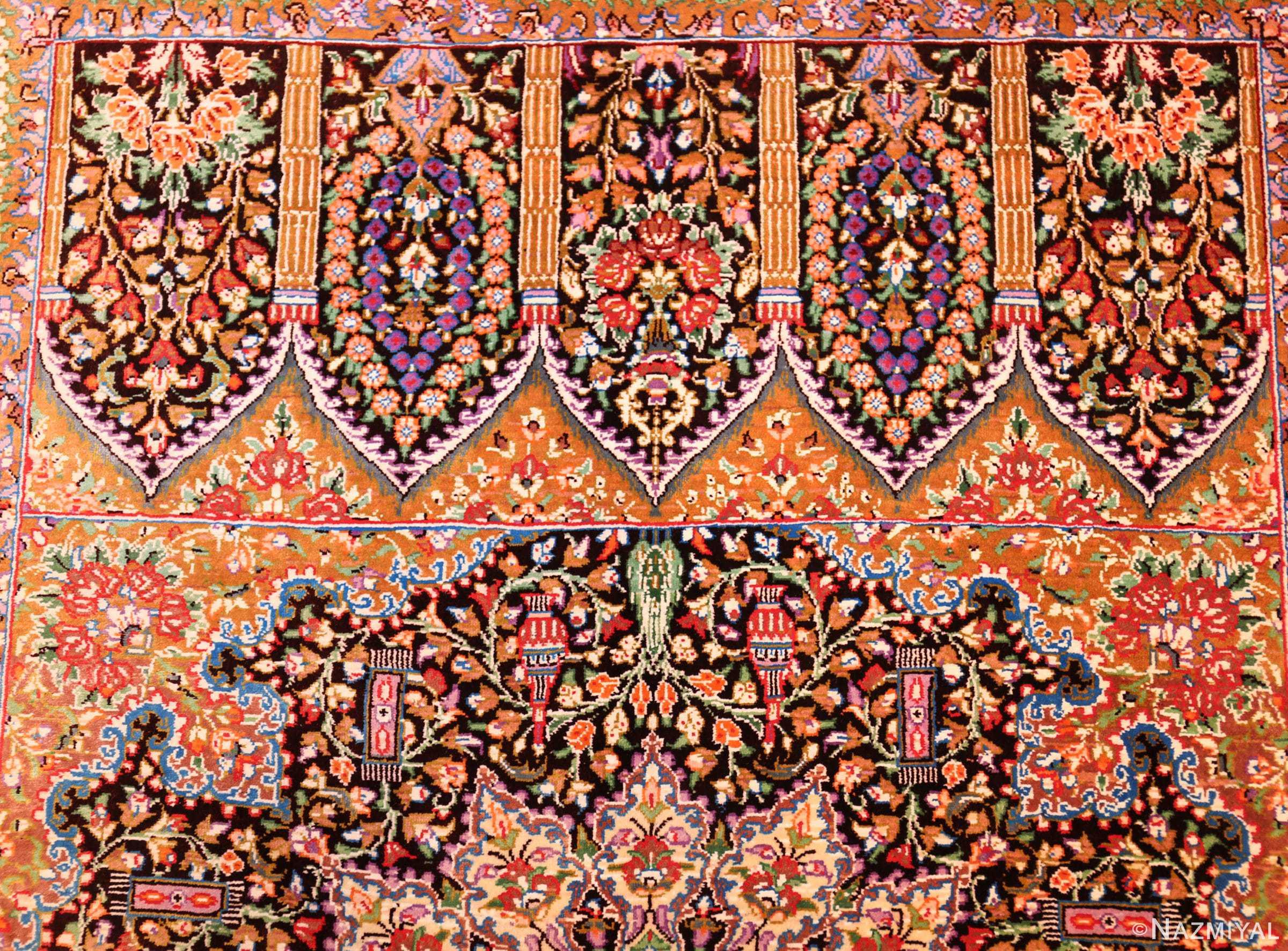 small scatter size modern silk persian qum rug 49409 top Nazmiyal