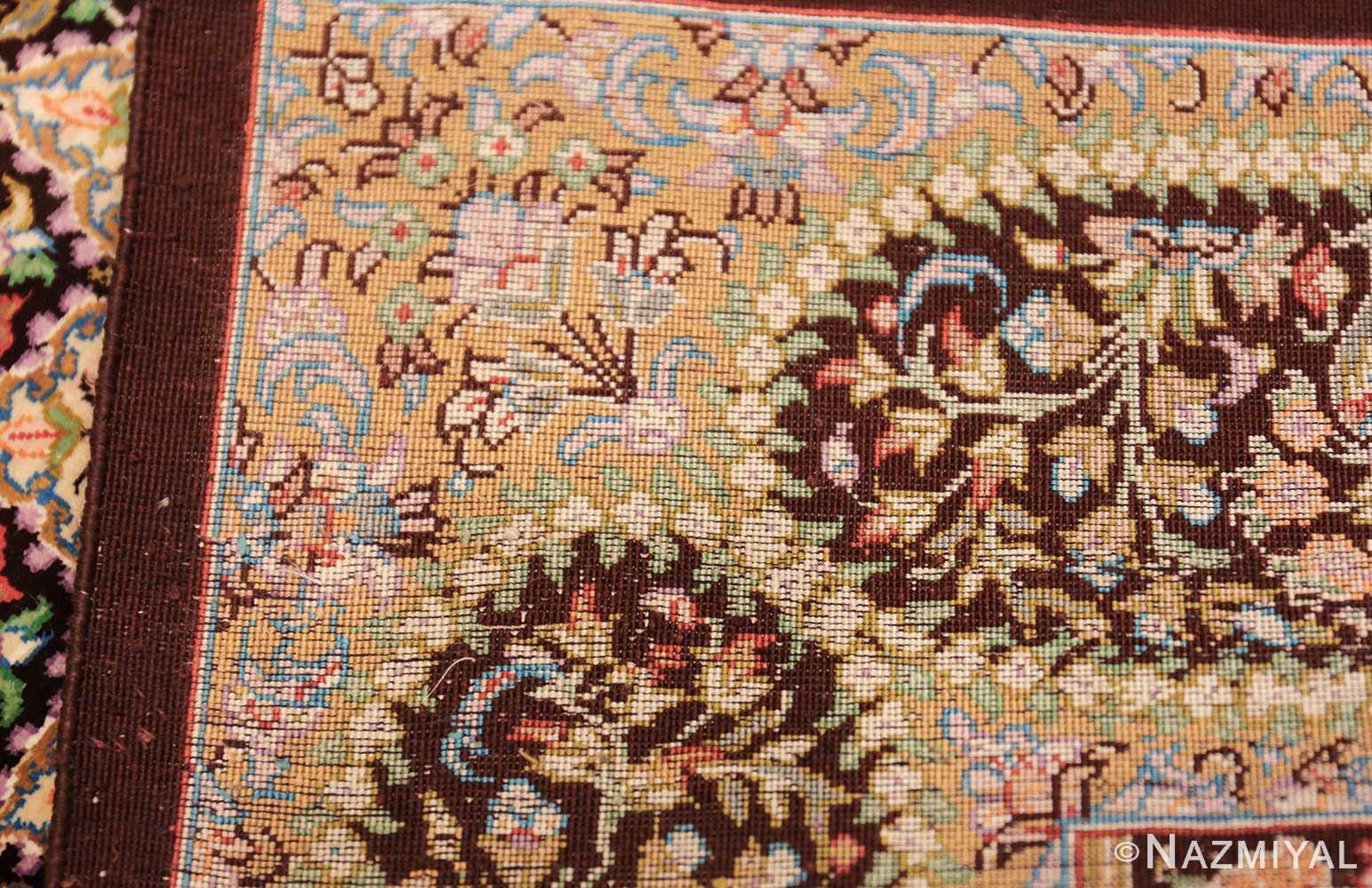small scatter size modern silk persian qum rug 49409 weave Nazmiyal