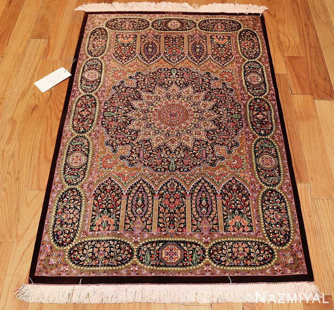 small scatter size modern silk persian qum rug 49409 whole Nazmiyal