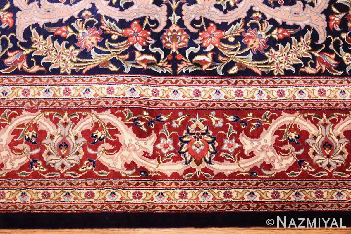 small scatter size navy modern silk persian qum rug 49414 border Nazmiyal