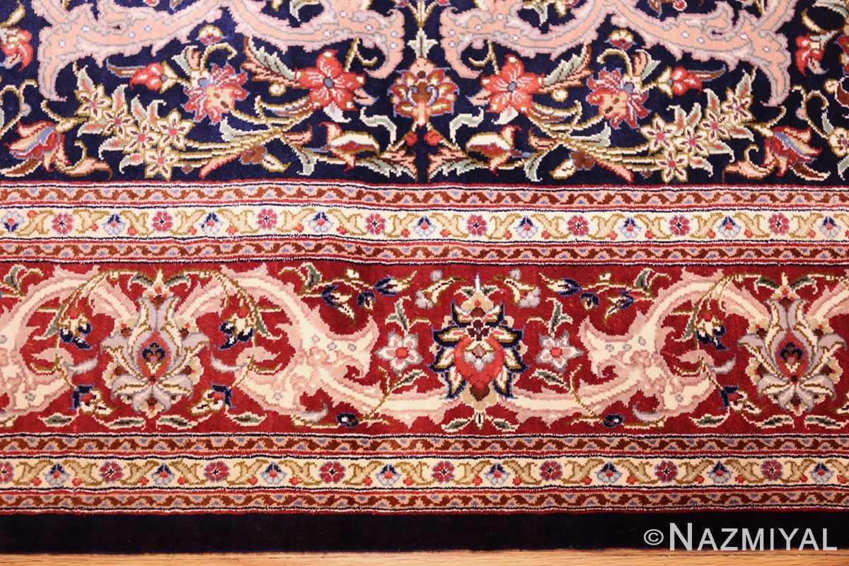 small scatter size navy modern silk persian qum rug 49414 border Nazmiyal