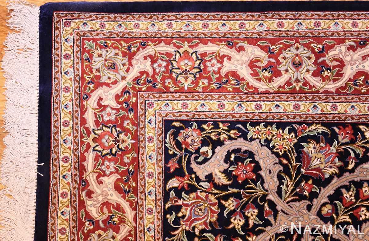 small scatter size navy modern silk persian qum rug 49414 corner Nazmiyal