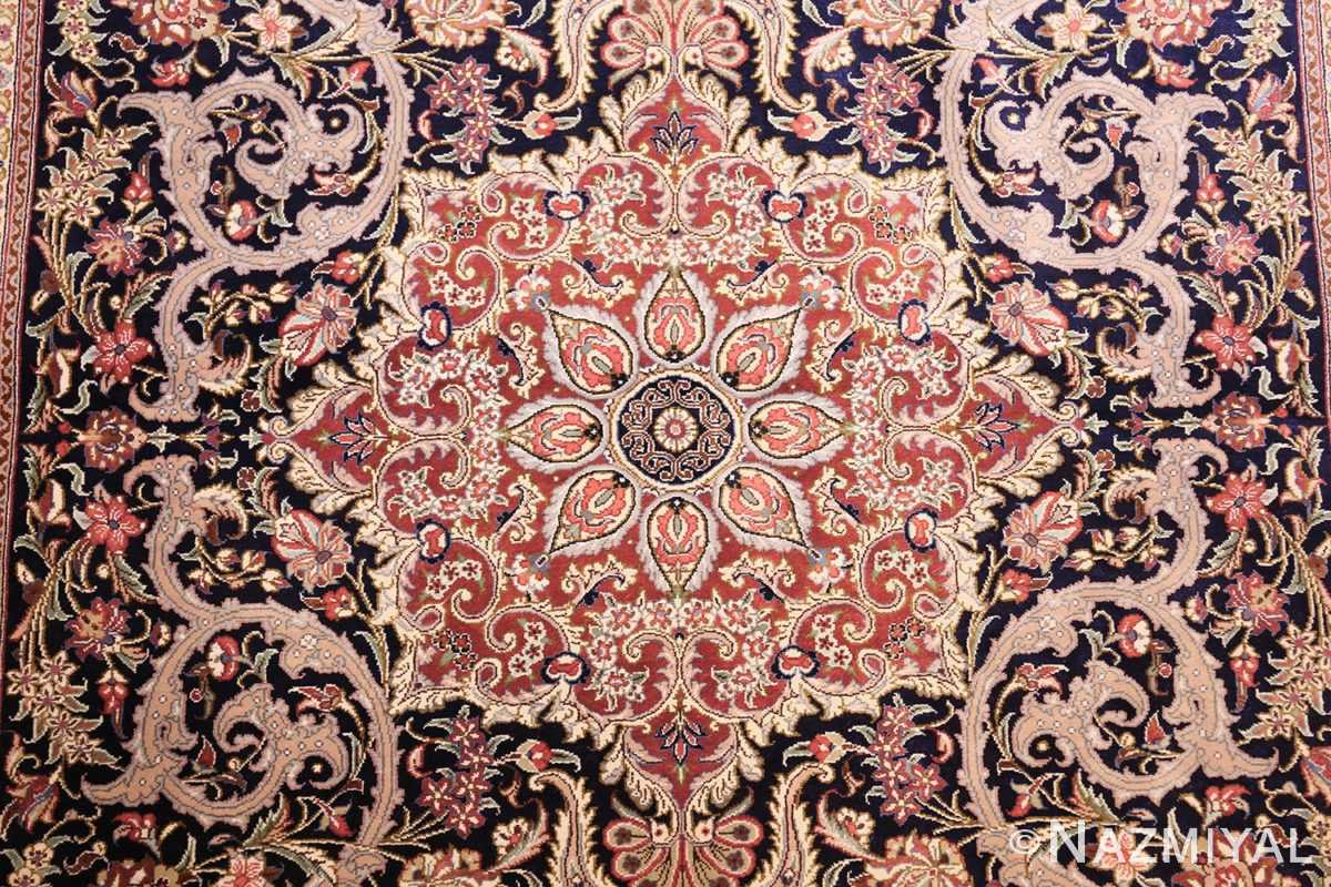small scatter size navy modern silk persian qum rug 49414 medallion Nazmiyal