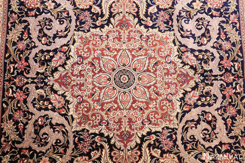 small scatter size navy modern silk persian qum rug 49414 medallion Nazmiyal