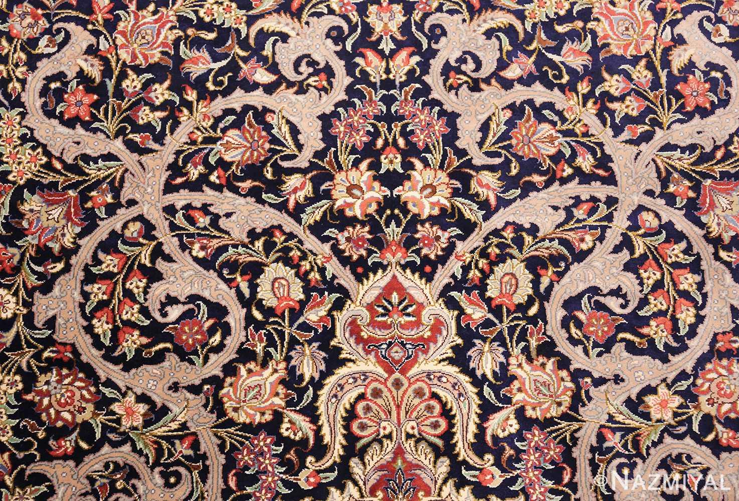 small scatter size navy modern silk persian qum rug 49414 scrolls Nazmiyal
