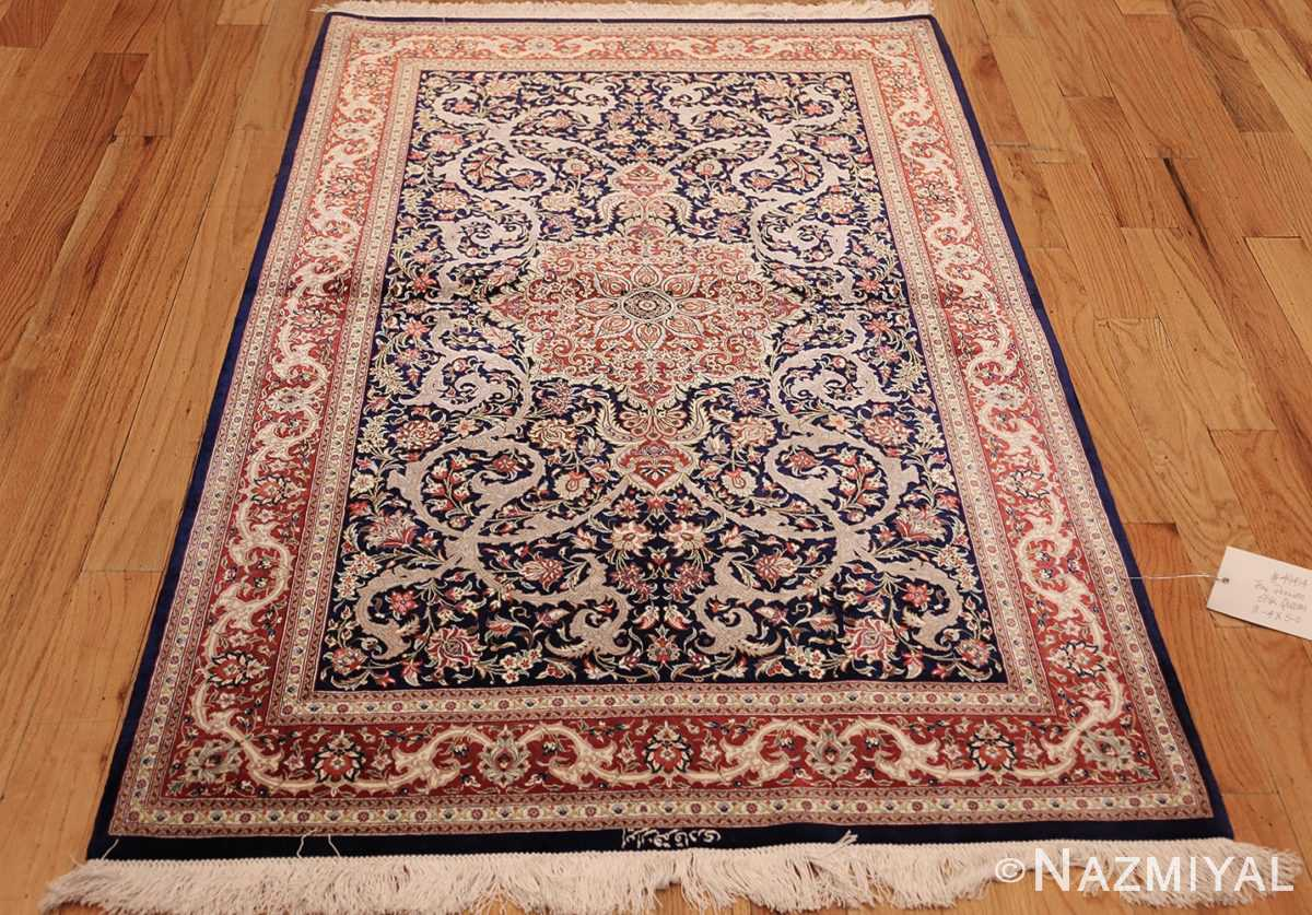 small scatter size navy modern silk persian qum rug 49414 whole Nazmiyal