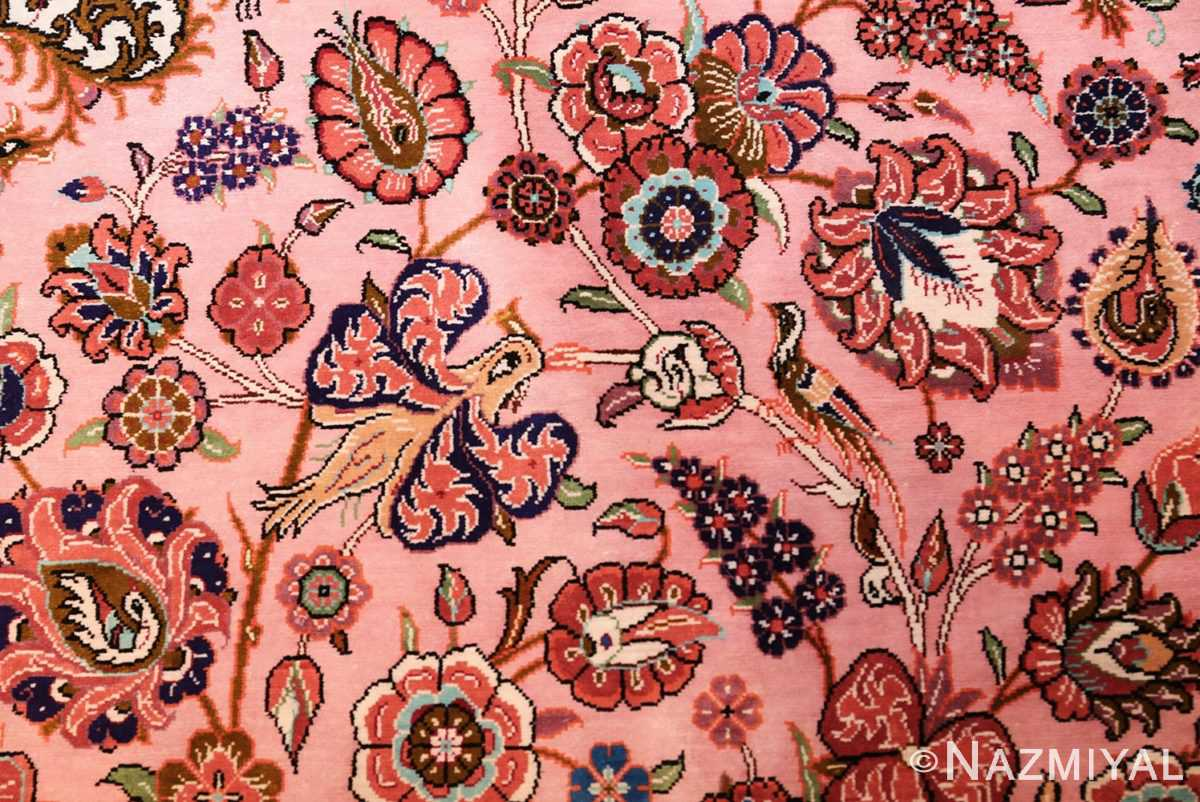 small size fine silk qum modern persian rug 49419 bird Nazmiyal