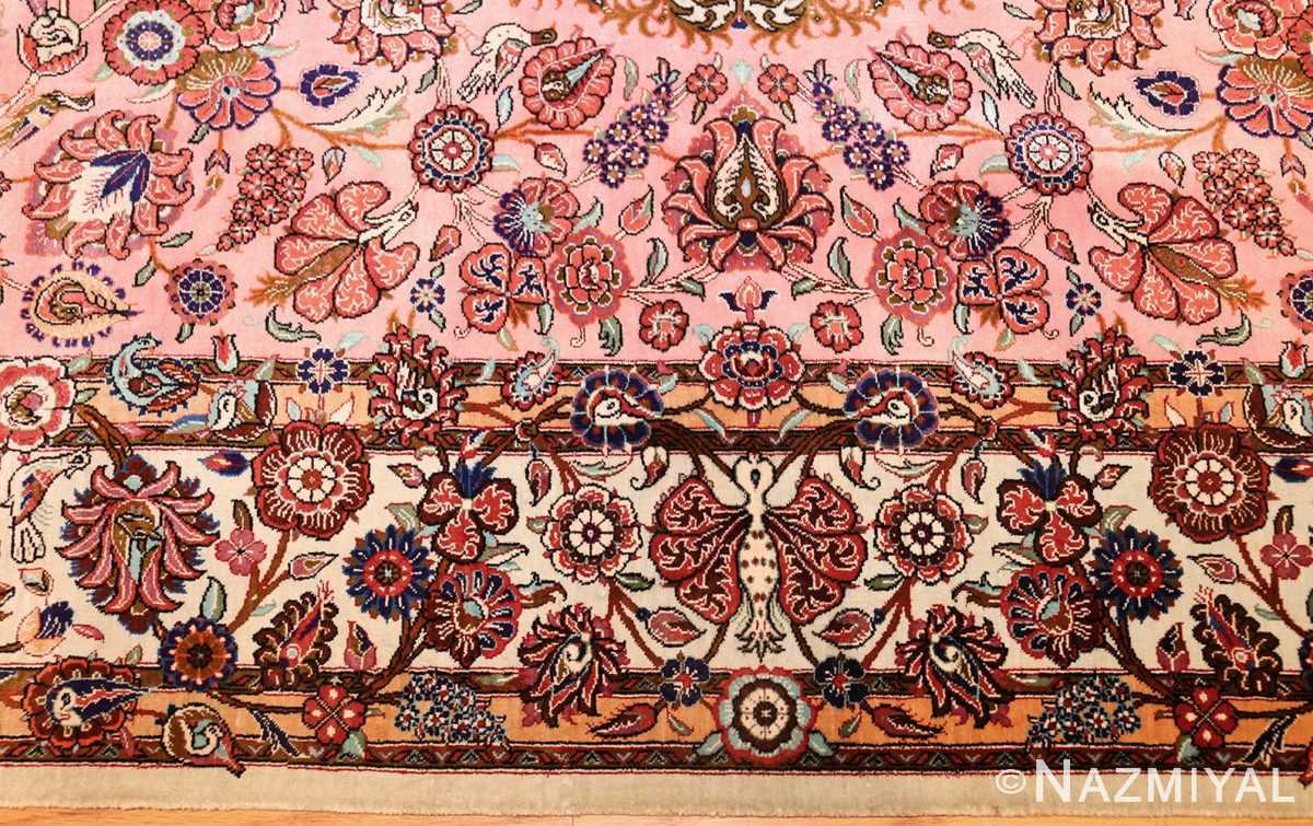 small size fine silk qum modern persian rug 49419 border Nazmiyal