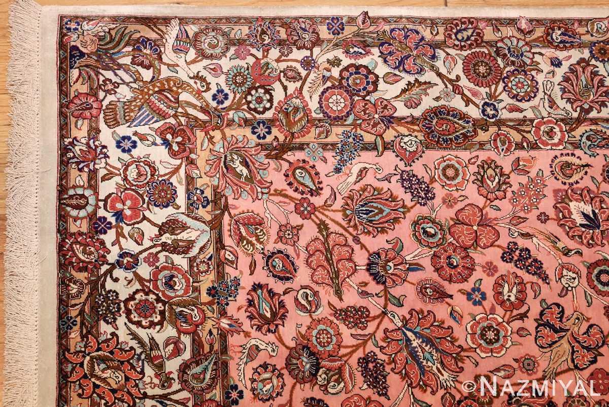 small size fine silk qum modern persian rug 49419 corner Nazmiyal