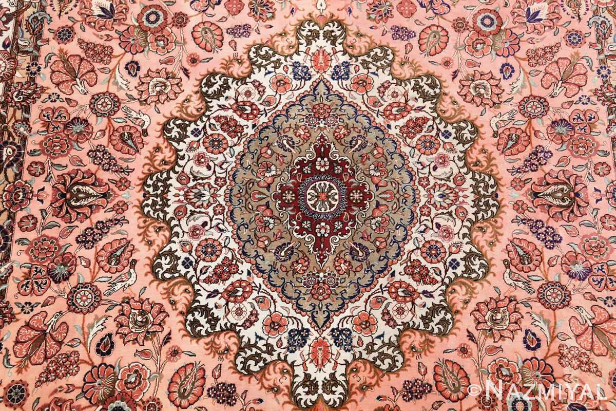 small size fine silk qum modern persian rug 49419 medallion Nazmiyal