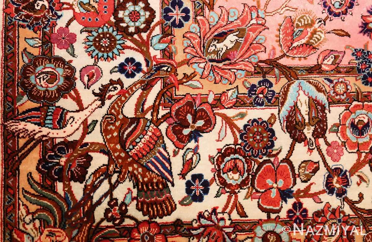 small size fine silk qum modern persian rug 49419 peacock Nazmiyal