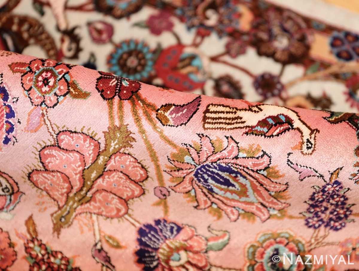 small size fine silk qum modern persian rug 49419 pile Nazmiyal