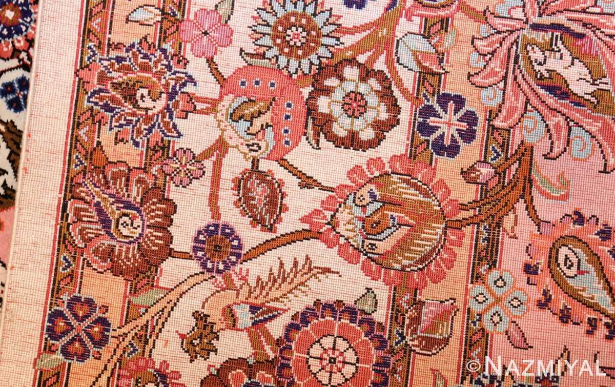 small size fine silk qum modern persian rug 49419 weave Nazmiyal