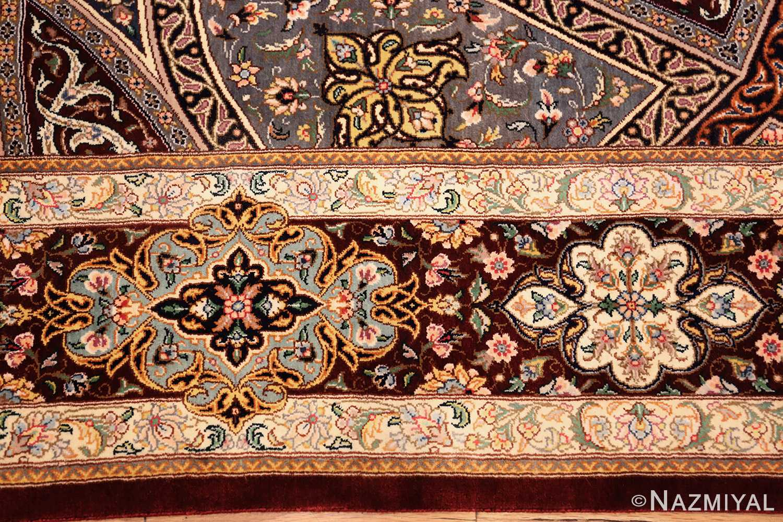 small size geometric modern persian silk qum rug 49421 border Nazmiyal