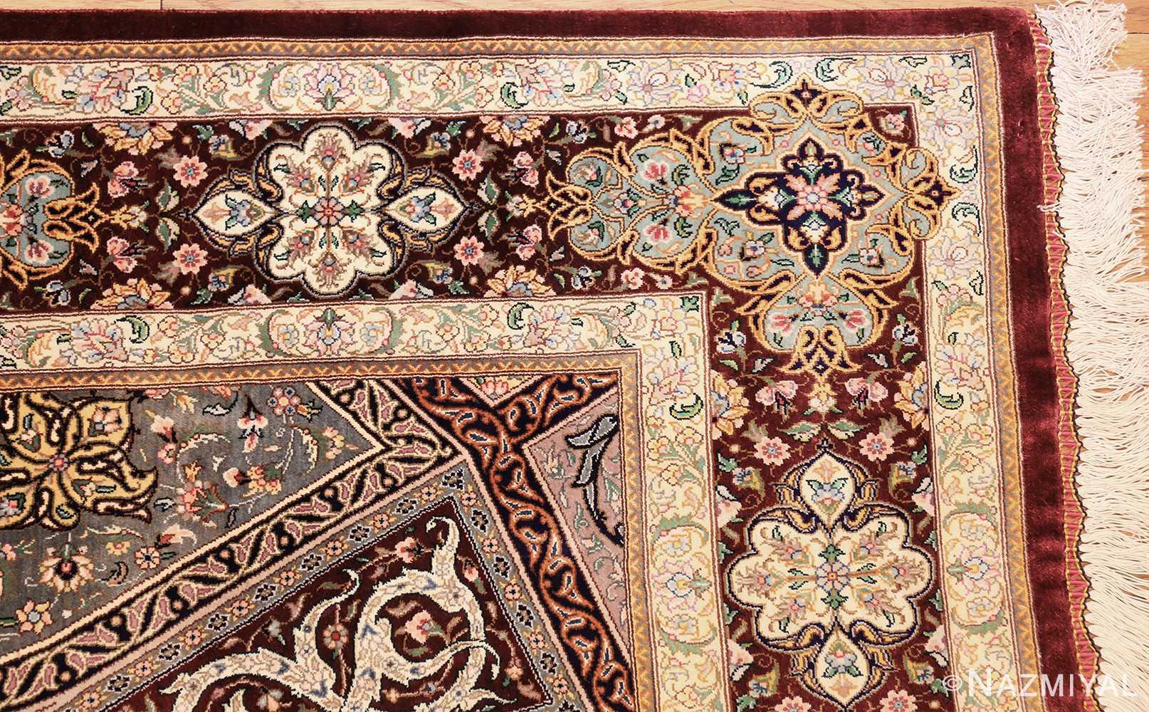 small size geometric modern persian silk qum rug 49421 corner Nazmiyal