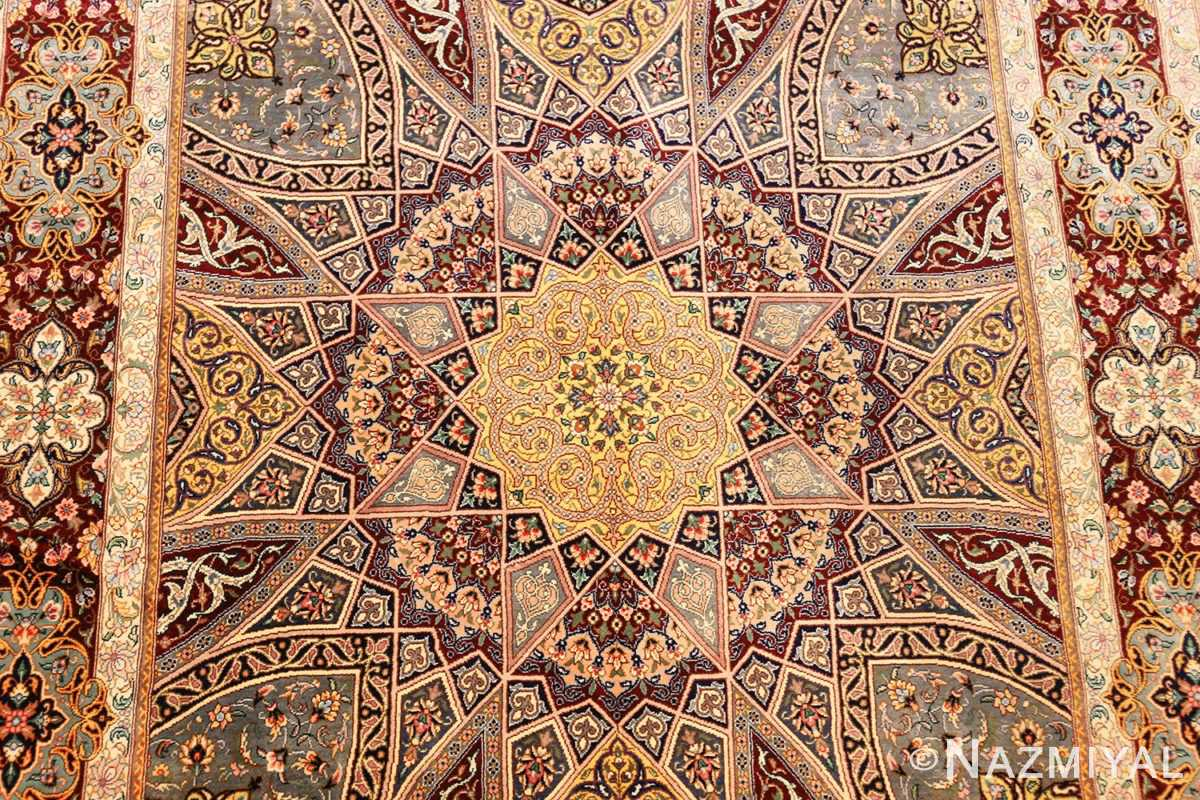 small size geometric modern persian silk qum rug 49421 middle Nazmiyal