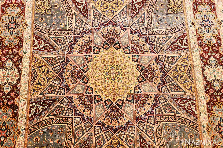 small size geometric modern persian silk qum rug 49421 middle Nazmiyal