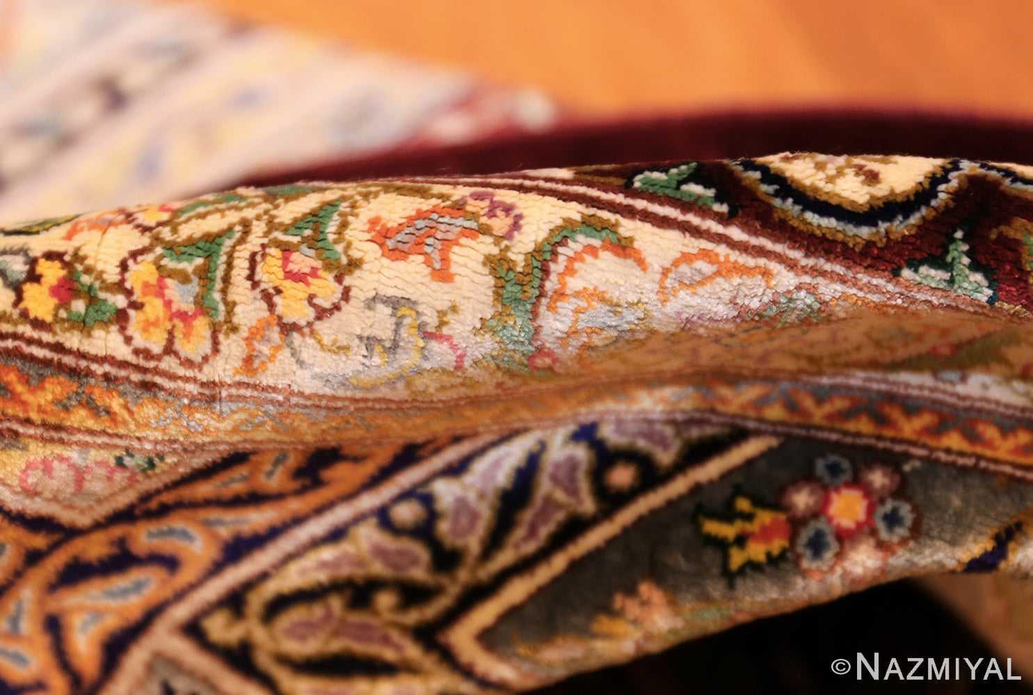 small size geometric modern persian silk qum rug 49421 pile Nazmiyal