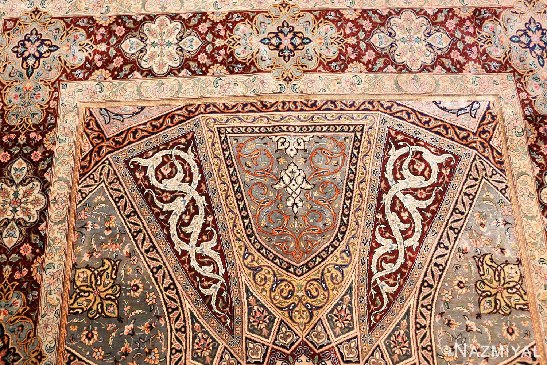 small size geometric modern persian silk qum rug 49421 top Nazmiyal
